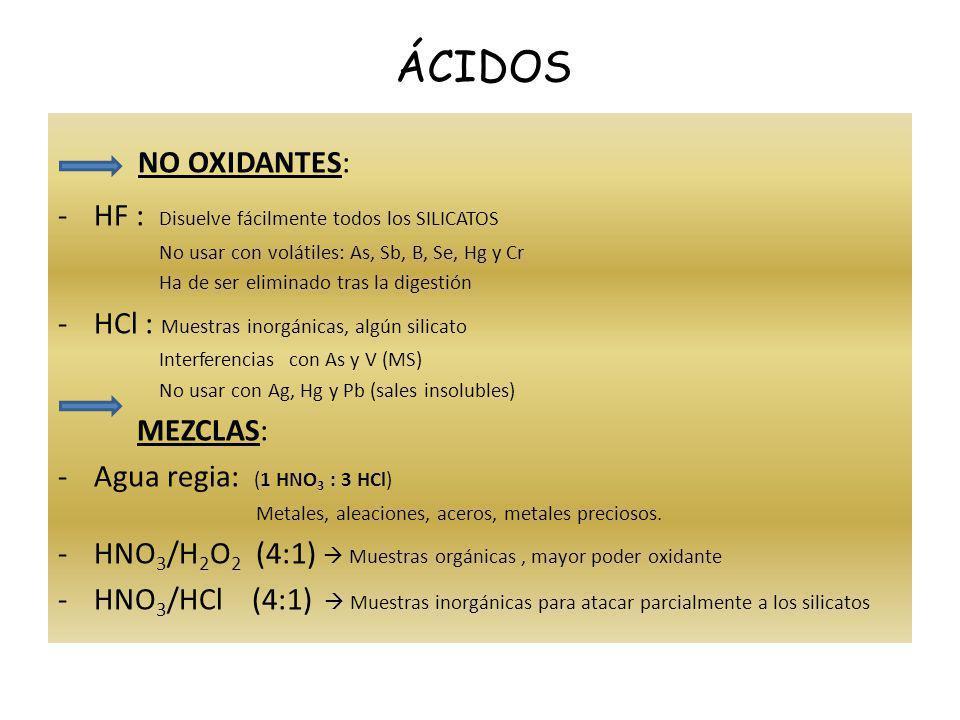 NO OXIDANTES: -HF : Disuelve fácilmente todos los SILICATOS No usar con volátiles: As, Sb, B, Se, Hg y Cr Ha de ser eliminado tras la digestión -HCl :