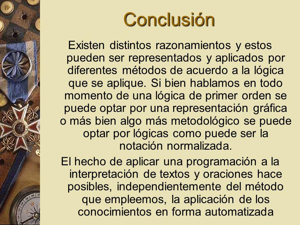 Conclusión Existen distintos razonamientos y estos pueden ser representados y aplicados por diferentes métodos de acuerdo a la lógica que se aplique.