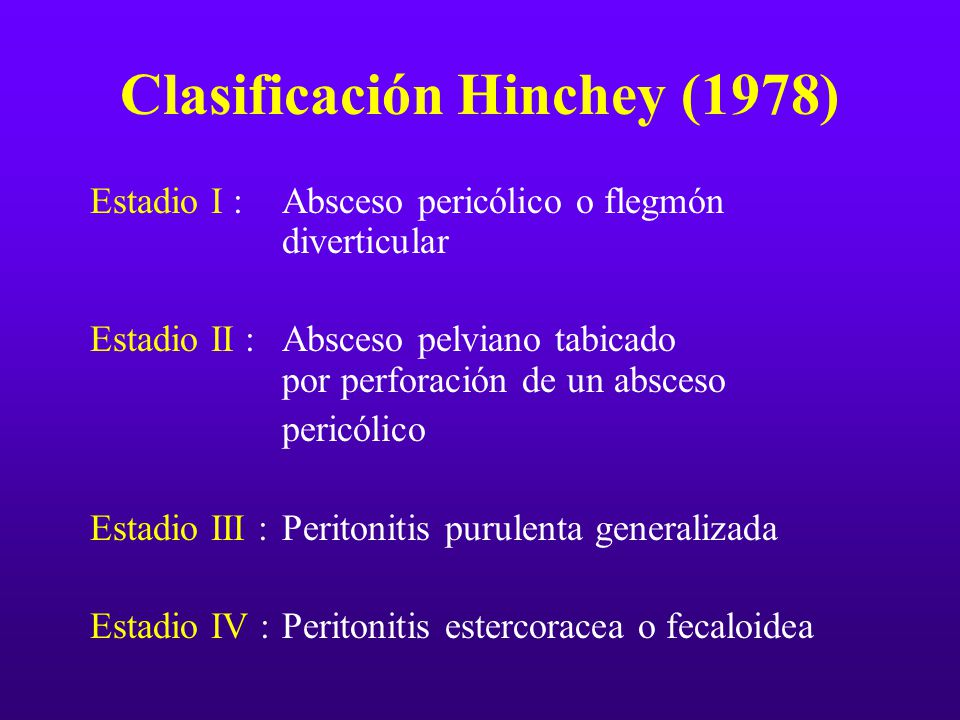 Clasificación Hinchey (1978) Estadio I : Absceso pericólico o flegmón diverticular Estadio II :Absceso pelviano tabicado por perforación de un absceso