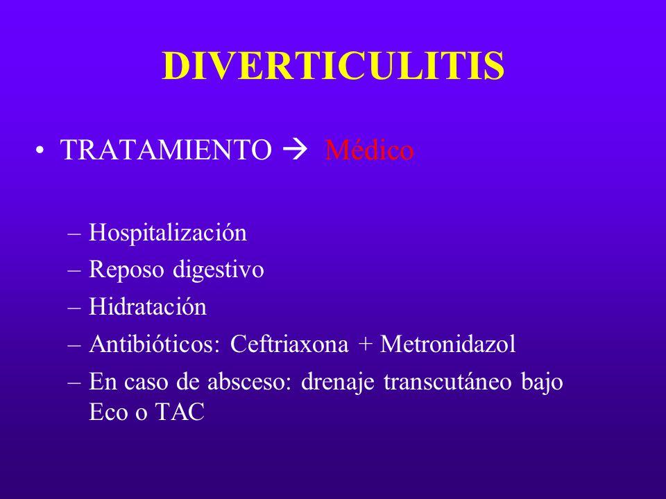 DIVERTICULITIS TRATAMIENTO Médico –Hospitalización –Reposo digestivo –Hidratación –Antibióticos: Ceftriaxona + Metronidazol –En caso de absceso: drena