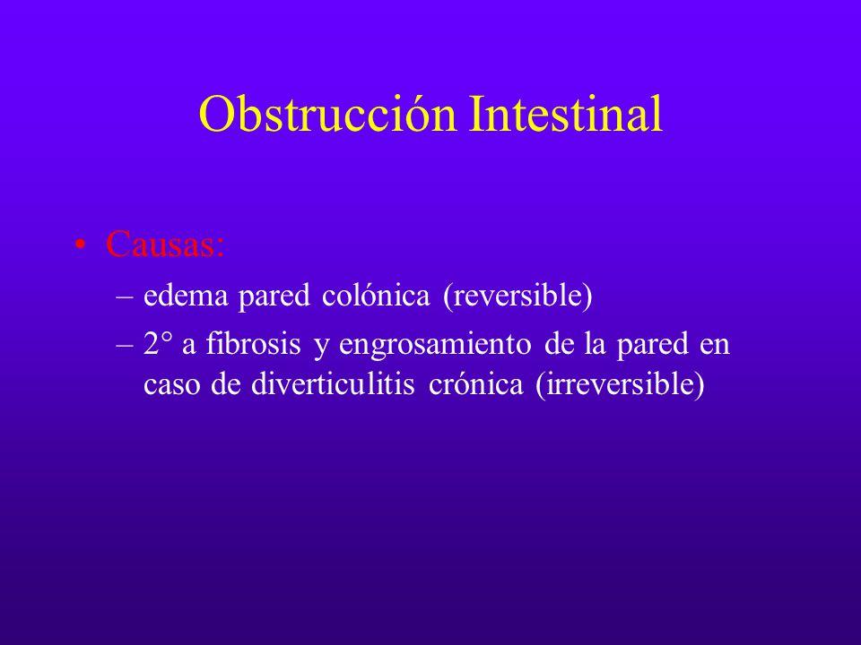Obstrucción Intestinal Causas: –edema pared colónica (reversible) –2° a fibrosis y engrosamiento de la pared en caso de diverticulitis crónica (irreve