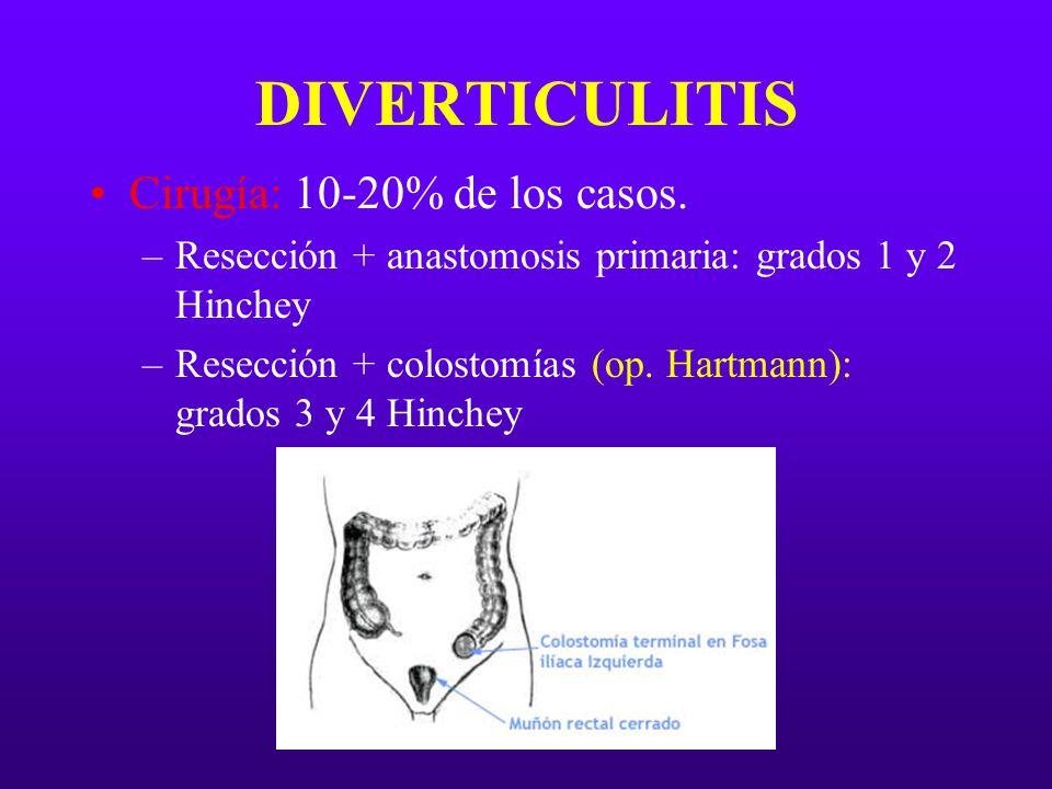 DIVERTICULITIS Cirugía: 10-20% de los casos. –Resección + anastomosis primaria: grados 1 y 2 Hinchey –Resección + colostomías (op. Hartmann): grados 3