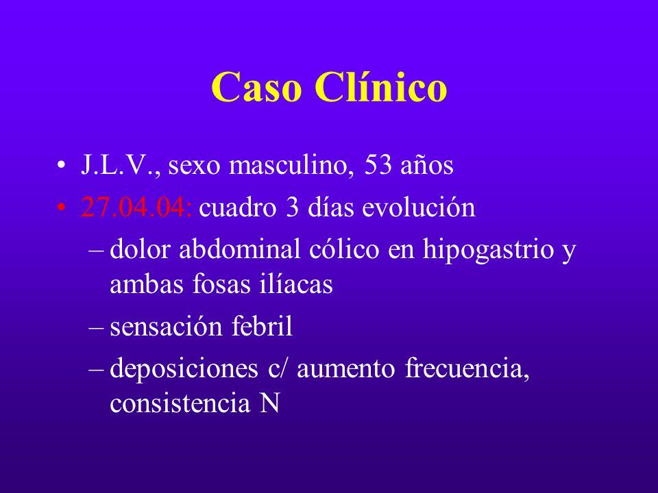 Caso Clínico J.L.V., sexo masculino, 53 años 27.04.04: cuadro 3 días evolución –dolor abdominal cólico en hipogastrio y ambas fosas ilíacas –sensación