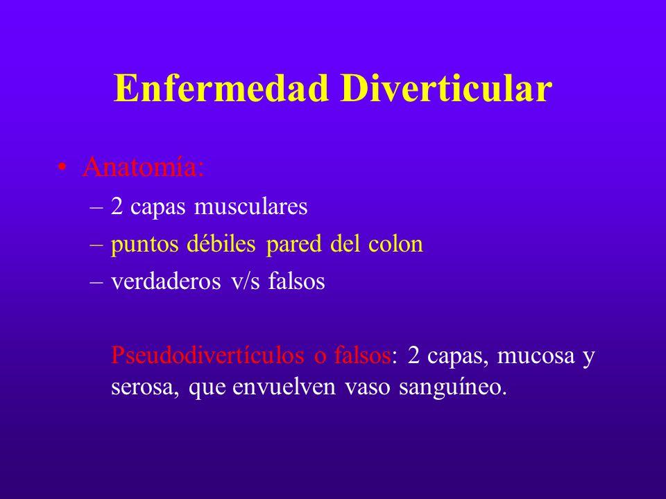 Enfermedad Diverticular Anatomía: –2 capas musculares –puntos débiles pared del colon –verdaderos v/s falsos Pseudodivertículos o falsos: 2 capas, muc