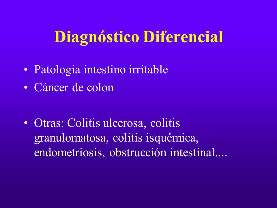 Diagnóstico Diferencial Patología intestino irritable Cáncer de colon Otras: Colitis ulcerosa, colitis granulomatosa, colitis isquémica, endometriosis