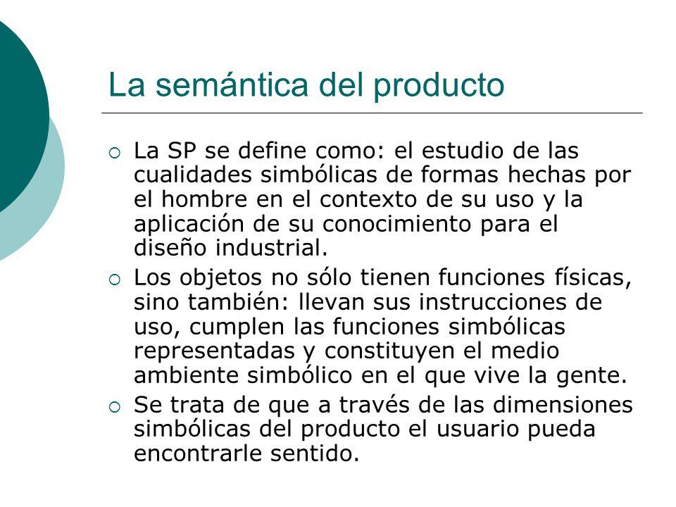 La semántica del producto La SP se define como: el estudio de las cualidades simbólicas de formas hechas por el hombre en el contexto de su uso y la a