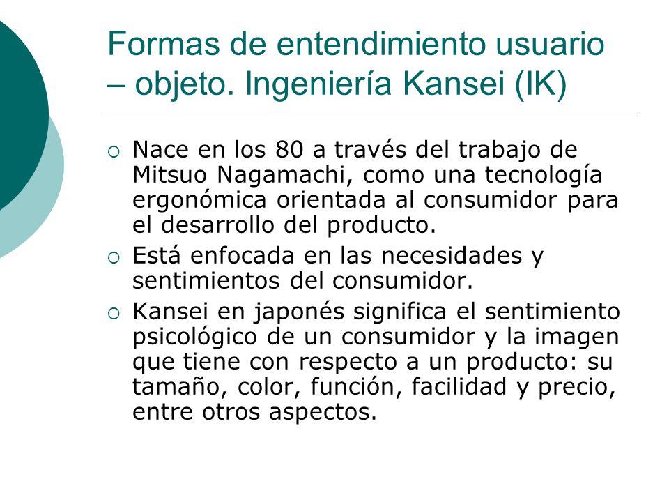 Formas de entendimiento usuario – objeto. Ingeniería Kansei (IK) Nace en los 80 a través del trabajo de Mitsuo Nagamachi, como una tecnología ergonómi