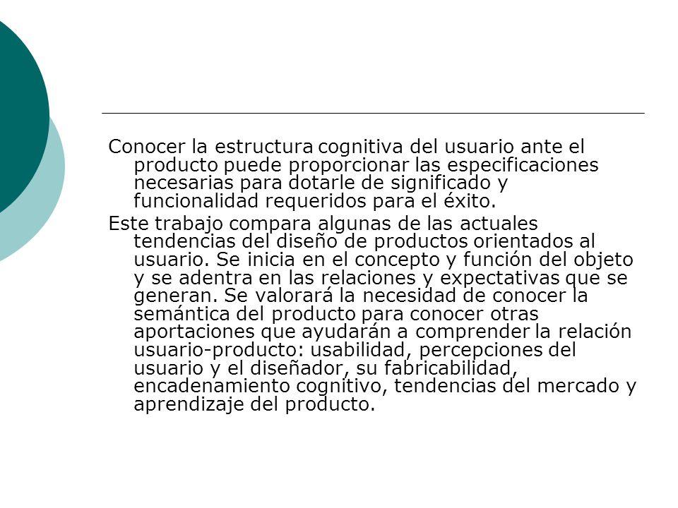 Conocer la estructura cognitiva del usuario ante el producto puede proporcionar las especificaciones necesarias para dotarle de significado y funciona