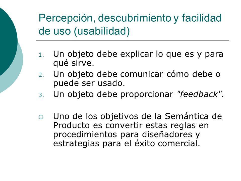 Percepción, descubrimiento y facilidad de uso (usabilidad) 1. Un objeto debe explicar lo que es y para qué sirve. 2. Un objeto debe comunicar cómo deb