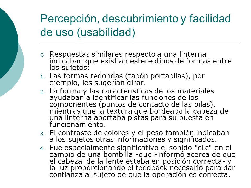 Percepción, descubrimiento y facilidad de uso (usabilidad) Respuestas similares respecto a una linterna indicaban que existían estereotipos de formas