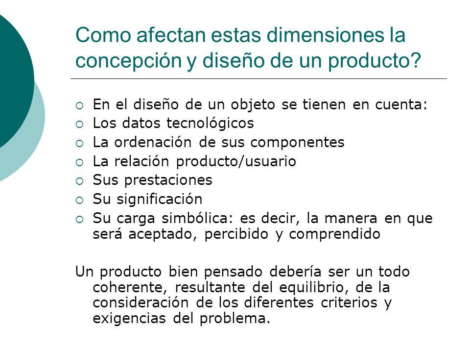 Como afectan estas dimensiones la concepción y diseño de un producto? En el diseño de un objeto se tienen en cuenta: Los datos tecnológicos La ordenac