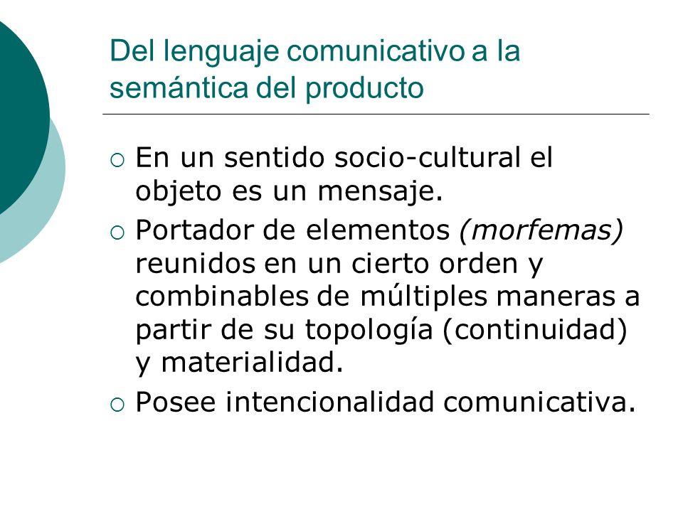 Del lenguaje comunicativo a la semántica del producto En un sentido socio-cultural el objeto es un mensaje. Portador de elementos (morfemas) reunidos