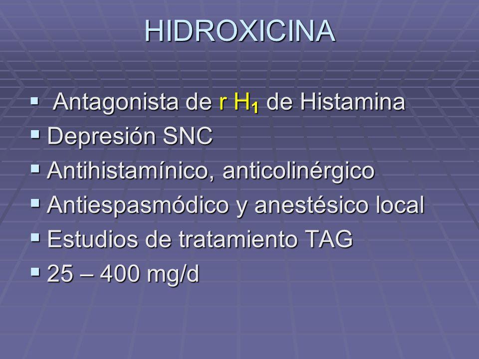 HIDROXICINA Antagonista de r H 1 de Histamina Antagonista de r H 1 de Histamina Depresión SNC Depresión SNC Antihistamínico, anticolinérgico Antihista