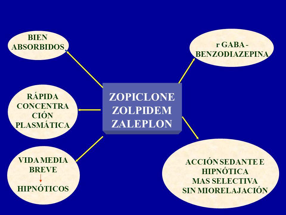 ZOPICLONE ZOLPIDEM ZALEPLON BIEN ABSORBIDOS r GABA - BENZODIAZEPINA ACCIÓN SEDANTE E HIPNÓTICA MAS SELECTIVA SIN MIORELAJACIÓN RÁPIDA CONCENTRA CIÓN P