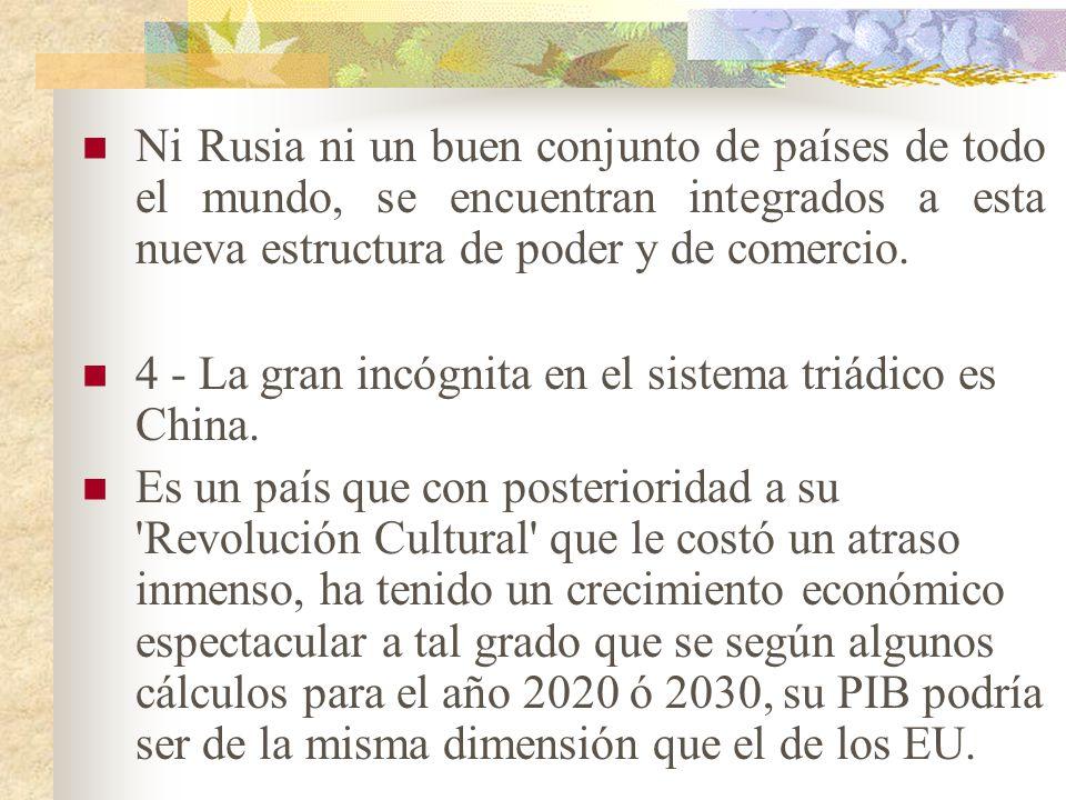 3.- las relaciones con los países pobres (que en el mundo bipolar se conocían como relaciones Norte-Sur), en el muevo mundo triádico se tienden a redu
