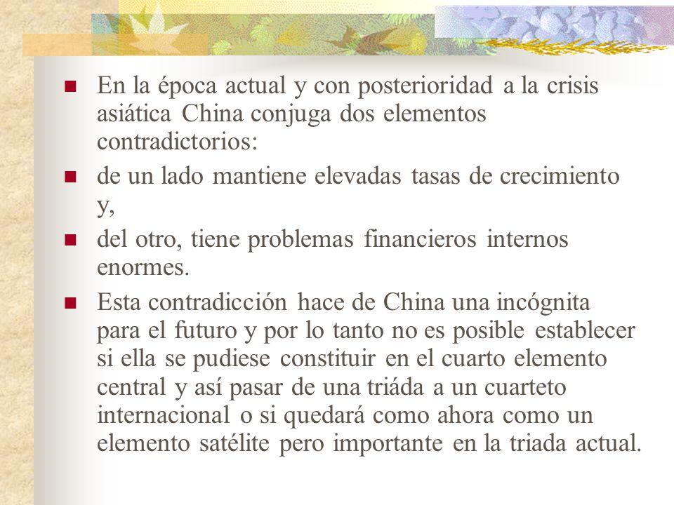 En la época actual y con posterioridad a la crisis asiática China conjuga dos elementos contradictorios: de un lado mantiene elevadas tasas de crecimiento y, del otro, tiene problemas financieros internos enormes.