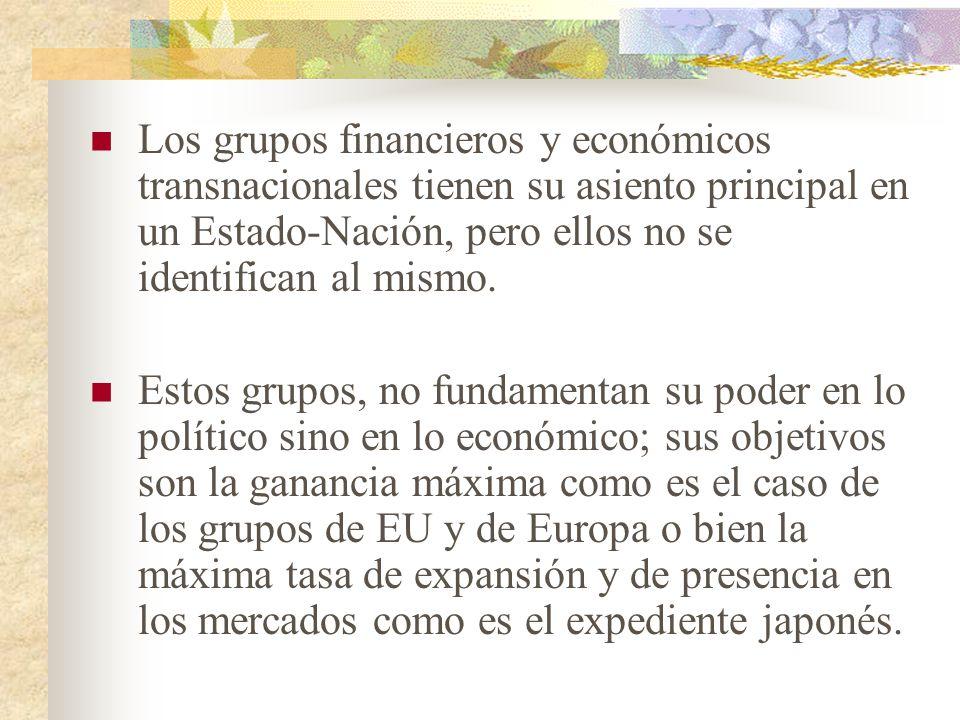 Los grupos financieros y económicos transnacionales tienen su asiento principal en un Estado-Nación, pero ellos no se identifican al mismo.