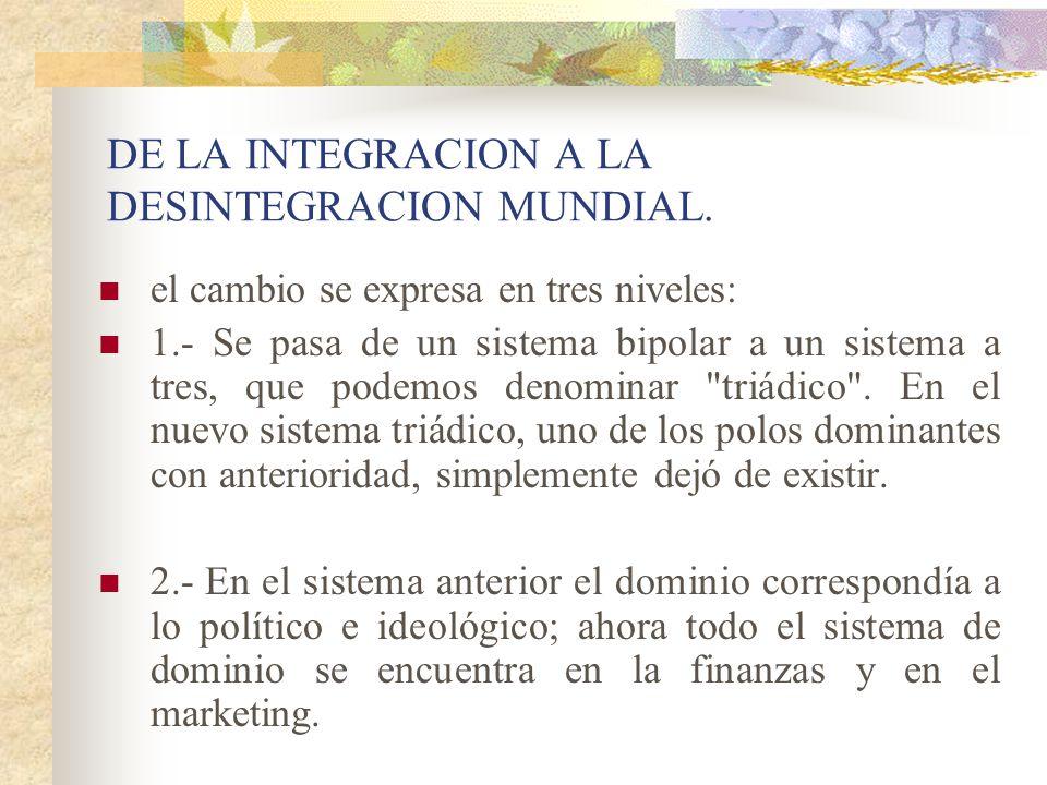 DE LA INTEGRACION A LA DESINTEGRACION MUNDIAL.