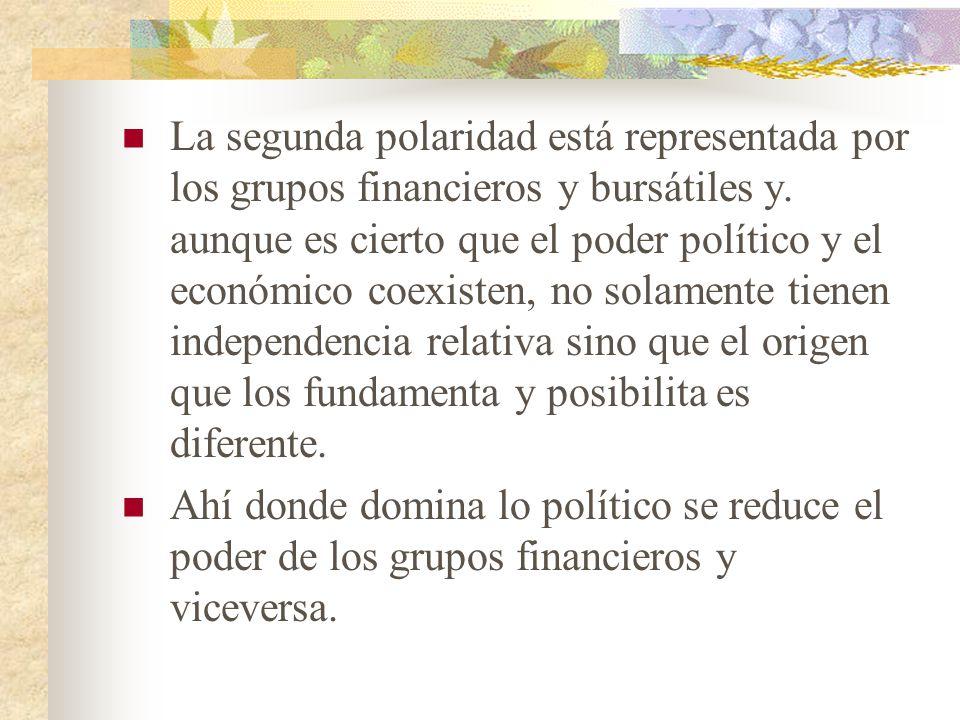 La segunda polaridad está representada por los grupos financieros y bursátiles y.