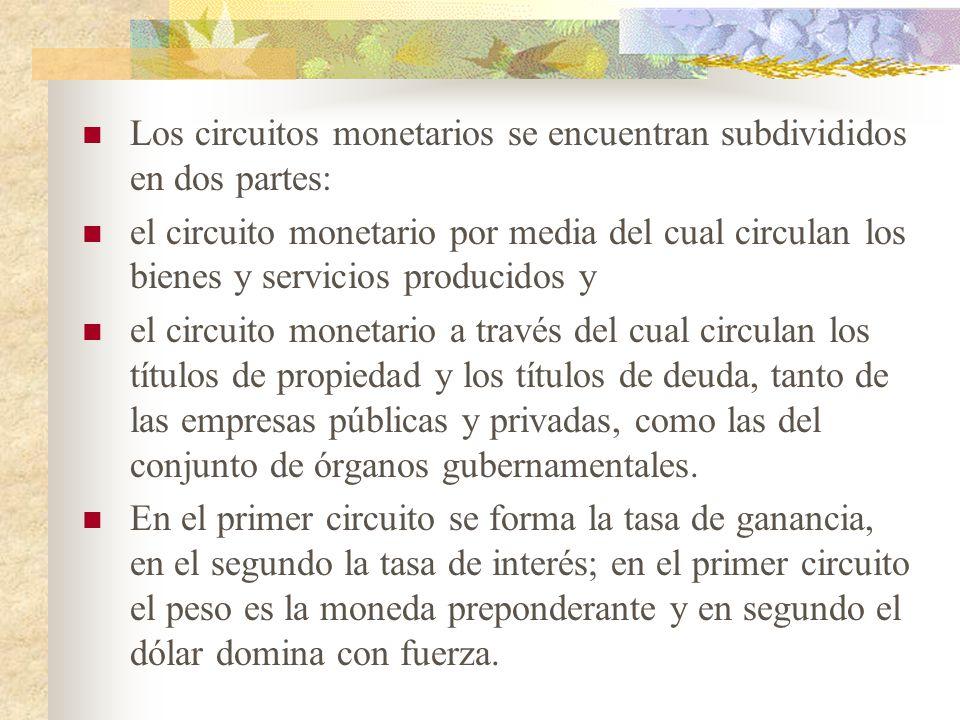 Los circuitos monetarios se encuentran subdivididos en dos partes: el circuito monetario por media del cual circulan los bienes y servicios producidos y el circuito monetario a través del cual circulan los títulos de propiedad y los títulos de deuda, tanto de las empresas públicas y privadas, como las del conjunto de órganos gubernamentales.