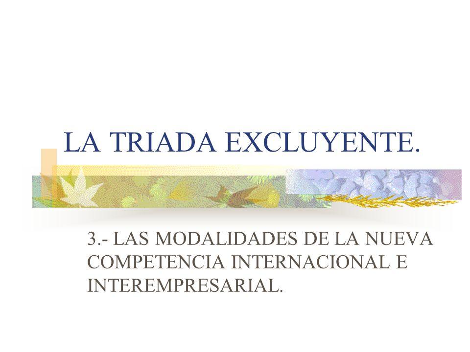 LA TRIADA EXCLUYENTE. 3.- LAS MODALIDADES DE LA NUEVA COMPETENCIA INTERNACIONAL E INTEREMPRESARIAL.