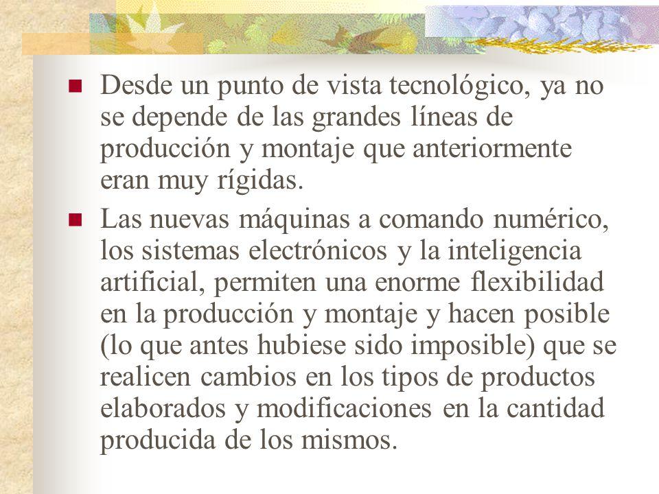 2.- La flexibilidad de acción. Esta flexibilidad de acción proviene de: la tecnología, el transporte y la administración.