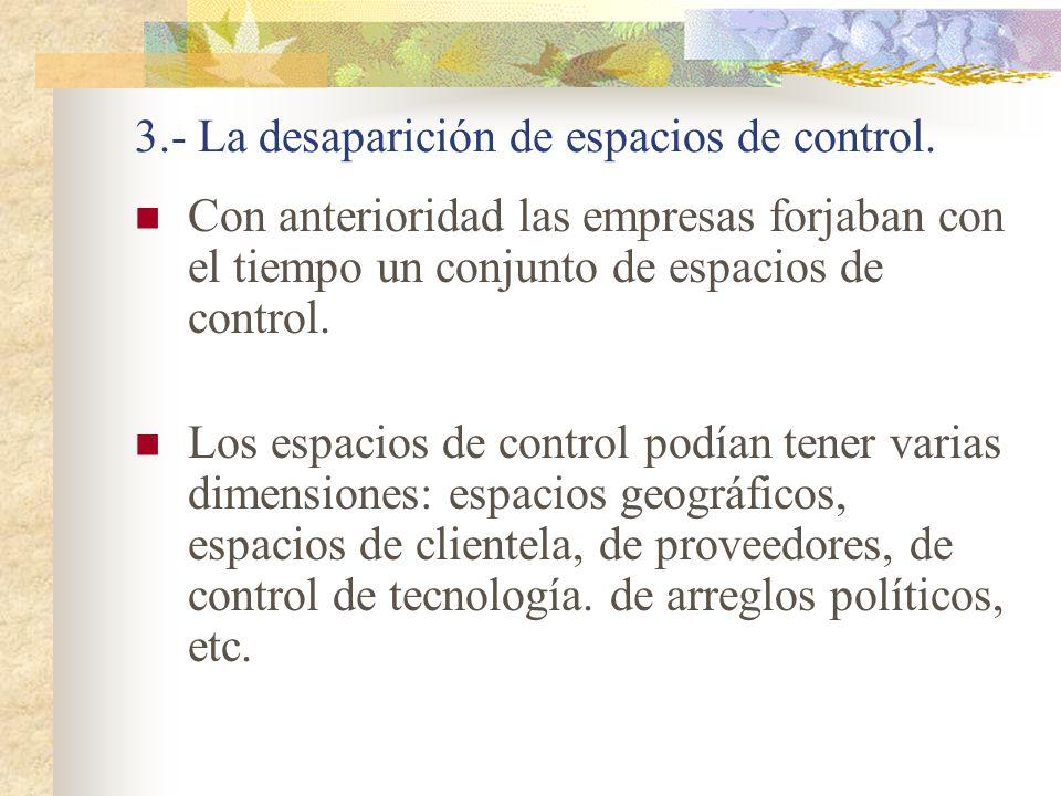 3.- La desaparición de espacios de control.