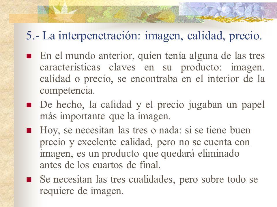 5.- La interpenetración: imagen, calidad, precio.
