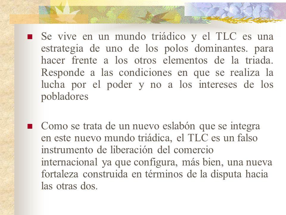 3.- El actual TLC no responde a las necesidades de los habitantes de Canadá, EU y México, sino que es el fruto de la división del poder mundial en tre