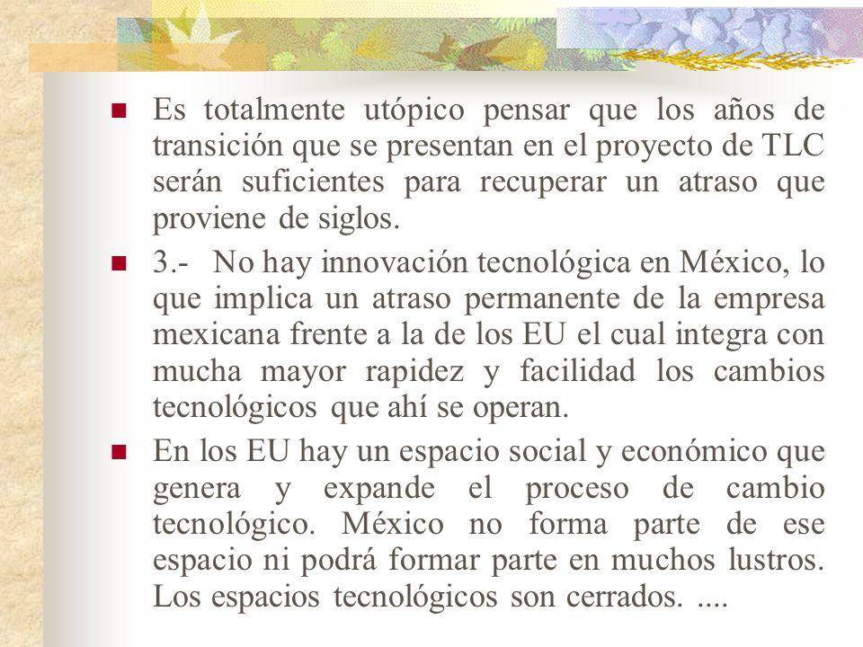 FACTORES TECNOLOGICOS. 1.- El atraso tecnológico existente en México en la actualidad, es muy grande y es casi imposible que se pueda recuperar en los