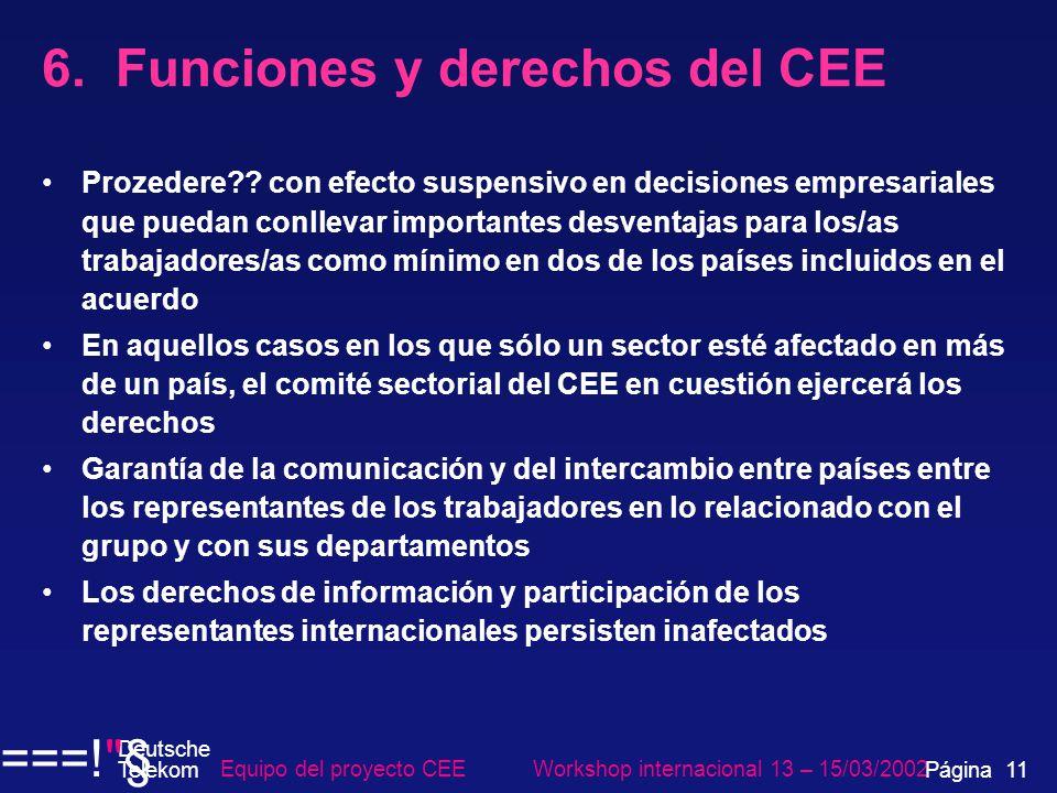 6. Funciones y derechos del CEE Prozedere?? con efecto suspensivo en decisiones empresariales que puedan conllevar importantes desventajas para los/as