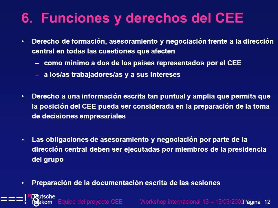 6. Funciones y derechos del CEE Derecho de formación, asesoramiento y negociación frente a la dirección central en todas las cuestiones que afecten –c