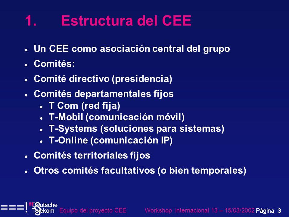 1. Estructura del CEE Un CEE como asociación central del grupo Comités: Comité directivo (presidencia) Comités departamentales fijos T Com (red fija)