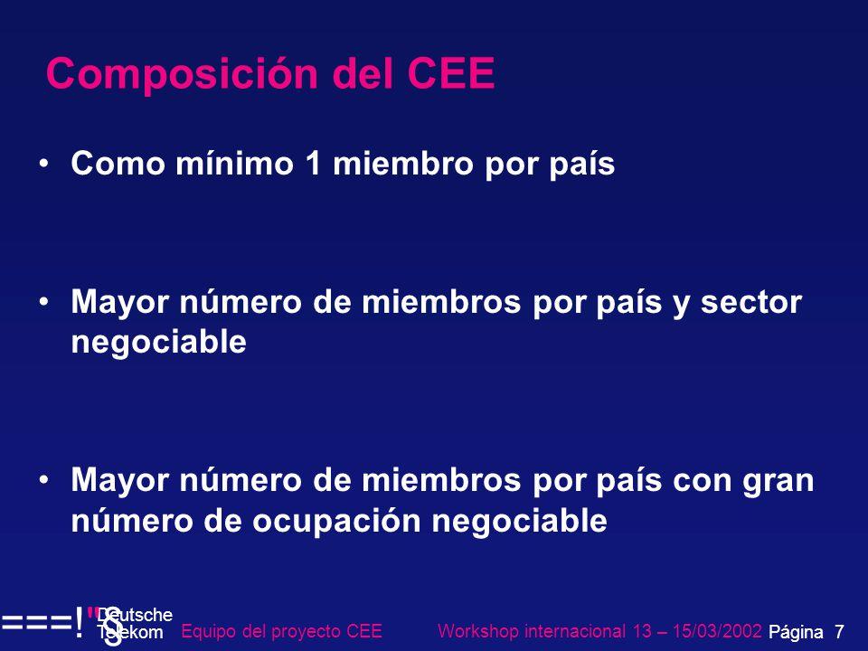 Composición del CEE Como mínimo 1 miembro por país Mayor número de miembros por país y sector negociable Mayor número de miembros por país con gran número de ocupación negociable Equipo del proyecto CEE Workshop internacional 13 – 15/03/2002 Página 7 Deutsche Telekom ===! §