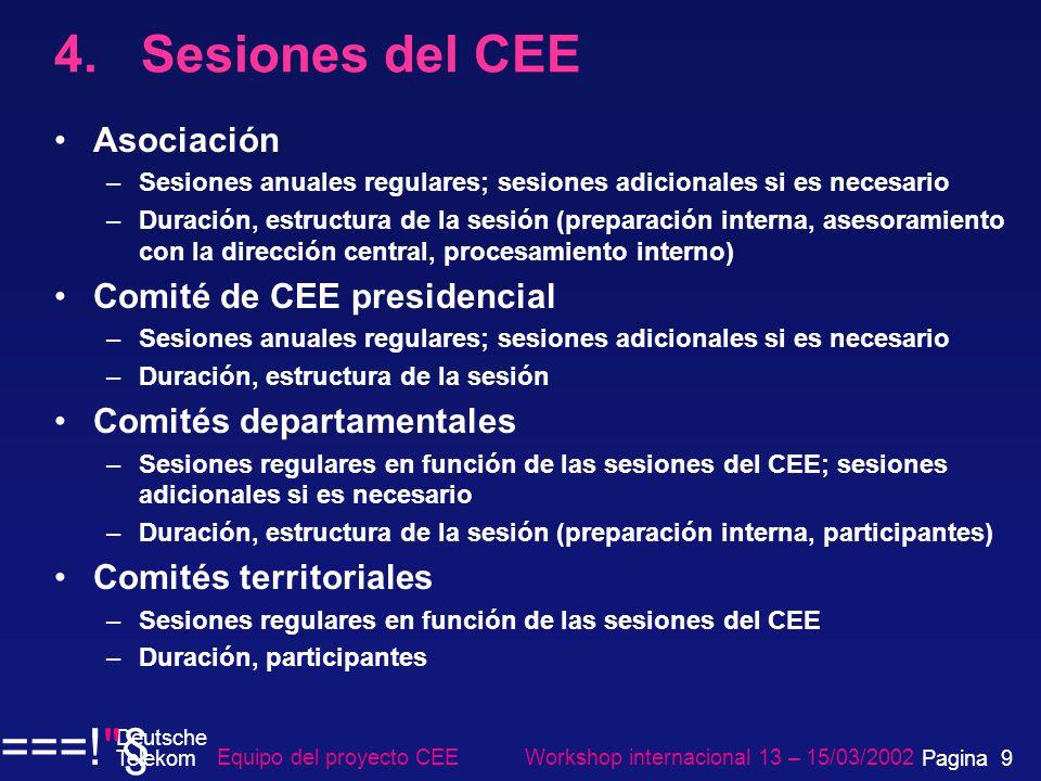 4. Sesiones del CEE Asociación –Sesiones anuales regulares; sesiones adicionales si es necesario –Duración, estructura de la sesión (preparación inter