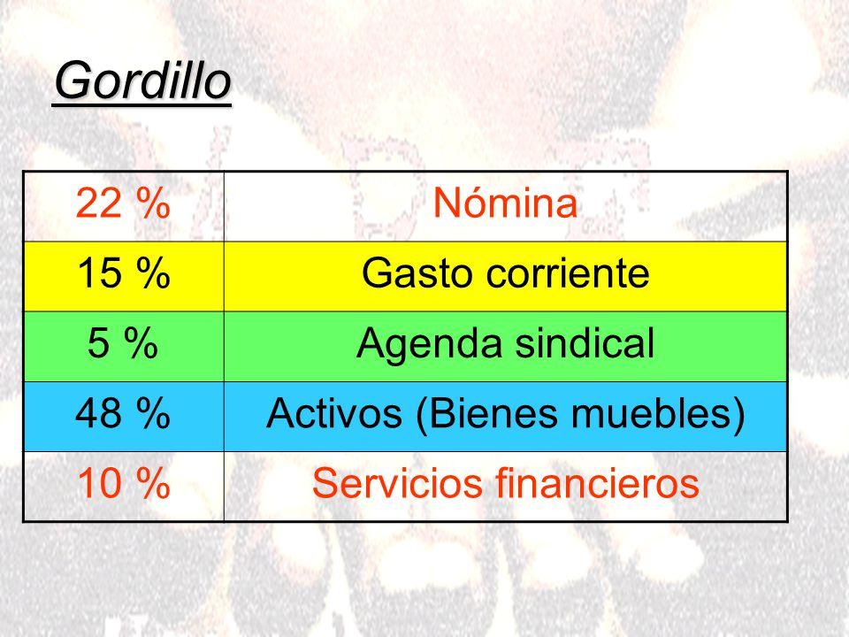 Gordillo 22 %Nómina 15 %Gasto corriente 5 %Agenda sindical 48 %Activos (Bienes muebles) 10 %Servicios financieros