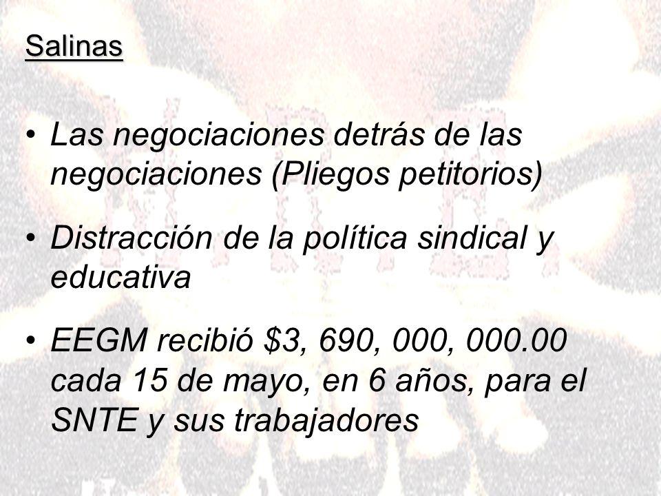 Salinas Las negociaciones detrás de las negociaciones (Pliegos petitorios) Distracción de la política sindical y educativa EEGM recibió $3, 690, 000, 000.00 cada 15 de mayo, en 6 años, para el SNTE y sus trabajadores