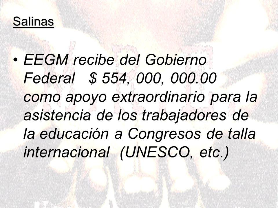 Salinas Por concepto de negociaciones con Gobernadores EEGM recibe $ 1, 140, 000, 000.00 Por concepto de cuotas sindicales obtiene $ 5, 616, 000, 000.00