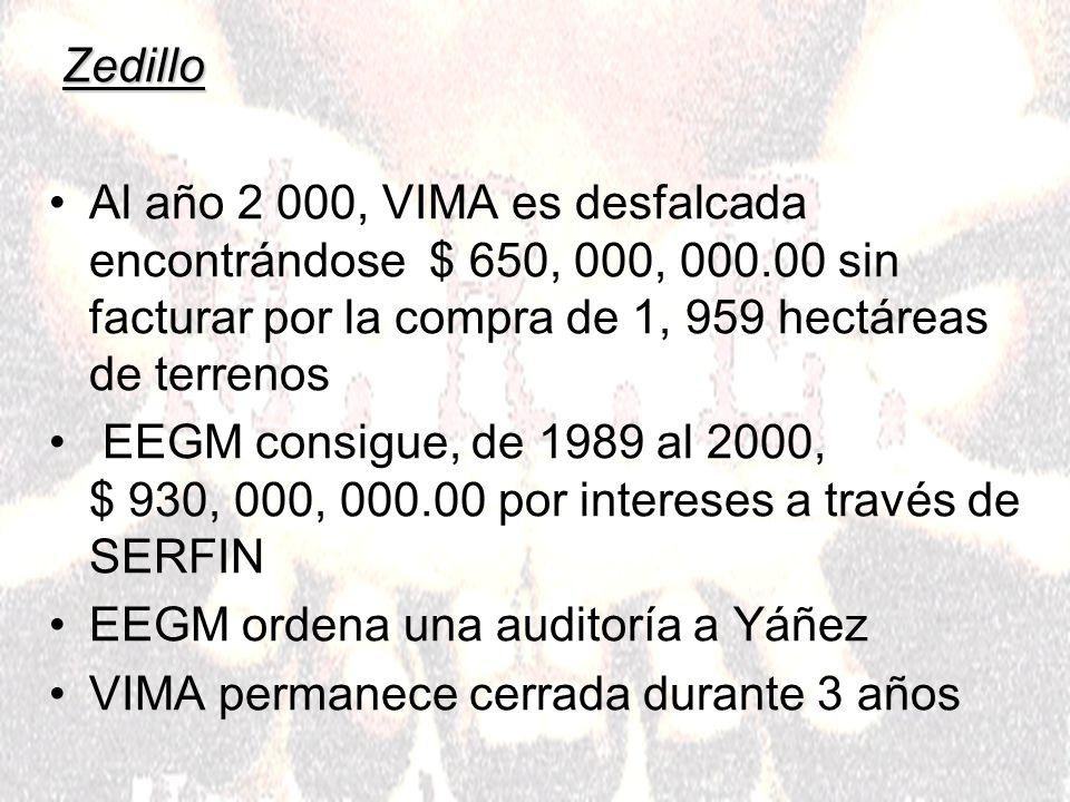 Zedillo Al año 2 000, VIMA es desfalcada encontrándose $ 650, 000, 000.00 sin facturar por la compra de 1, 959 hectáreas de terrenos EEGM consigue, de 1989 al 2000, $ 930, 000, 000.00 por intereses a través de SERFIN EEGM ordena una auditoría a Yáñez VIMA permanece cerrada durante 3 años