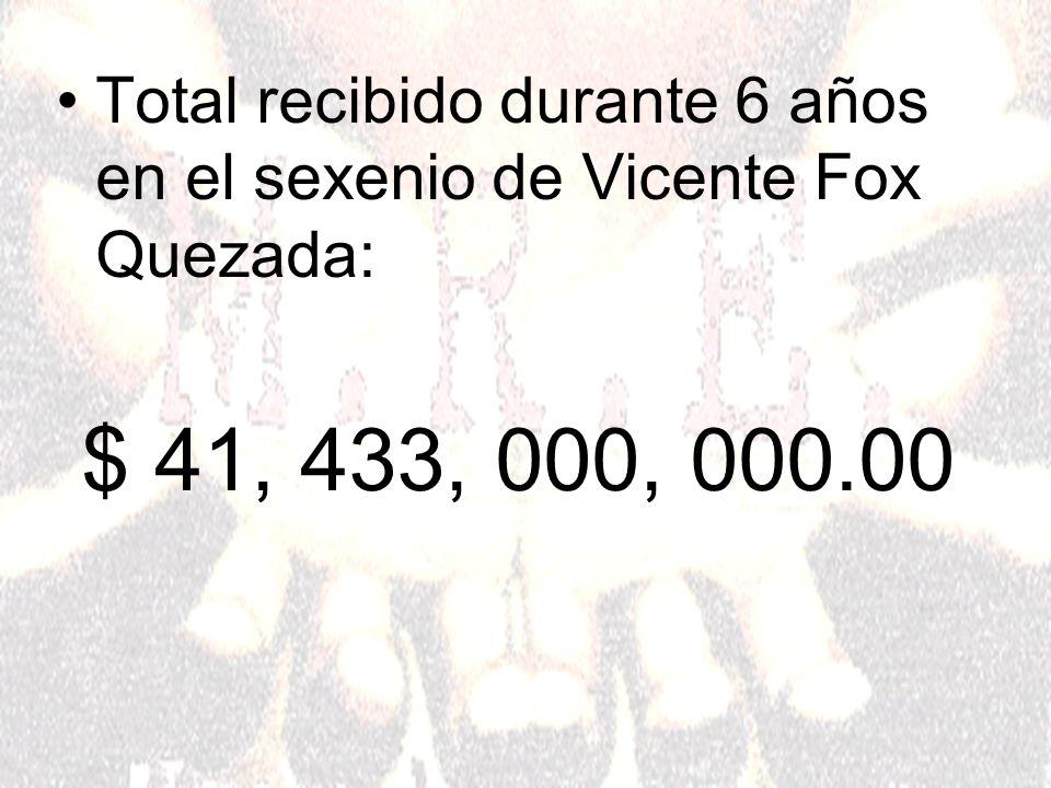 Total recibido durante 6 años en el sexenio de Vicente Fox Quezada: $ 41, 433, 000, 000.00
