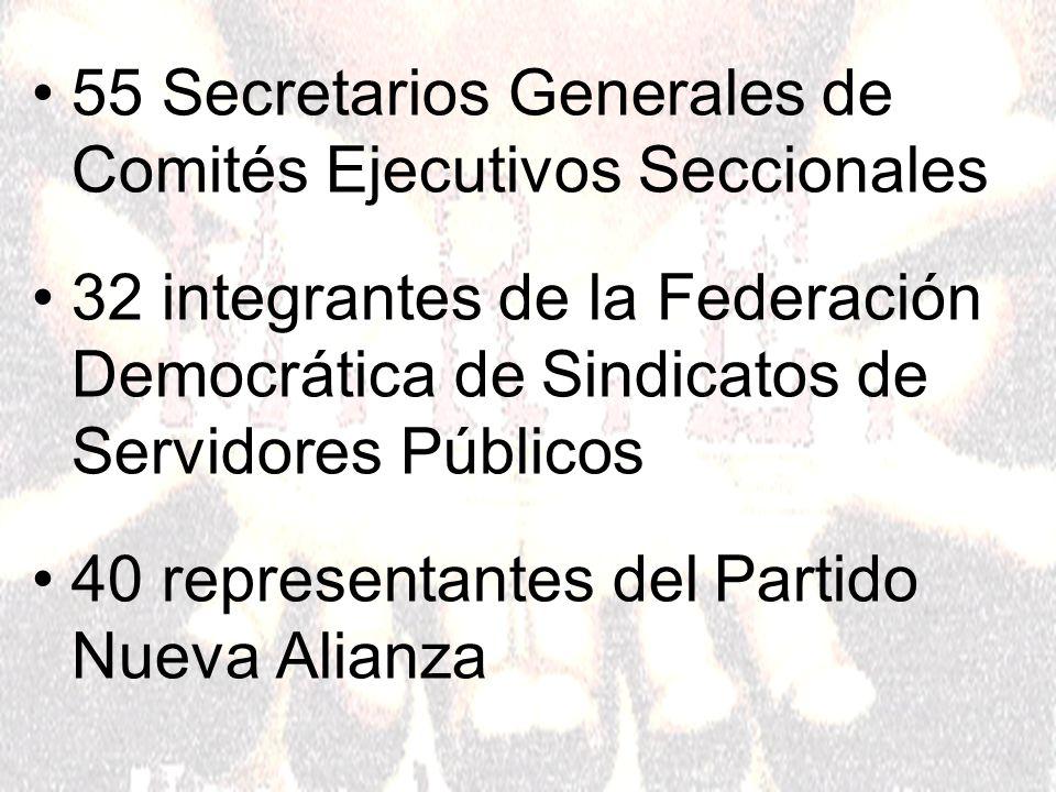 55 Secretarios Generales de Comités Ejecutivos Seccionales 32 integrantes de la Federación Democrática de Sindicatos de Servidores Públicos 40 representantes del Partido Nueva Alianza