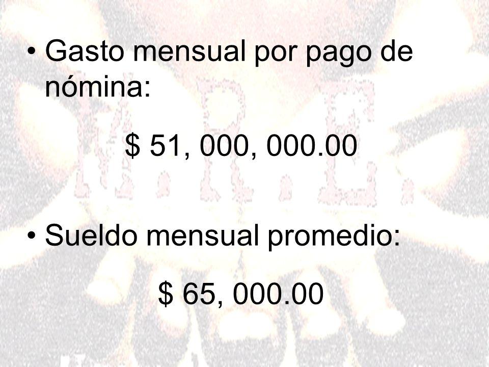 Gasto mensual por pago de nómina: $ 51, 000, 000.00 Sueldo mensual promedio: $ 65, 000.00