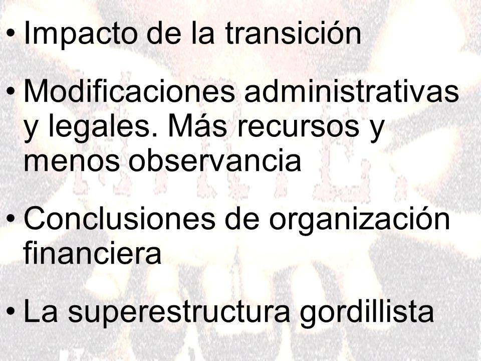 Impacto de la transición Modificaciones administrativas y legales.