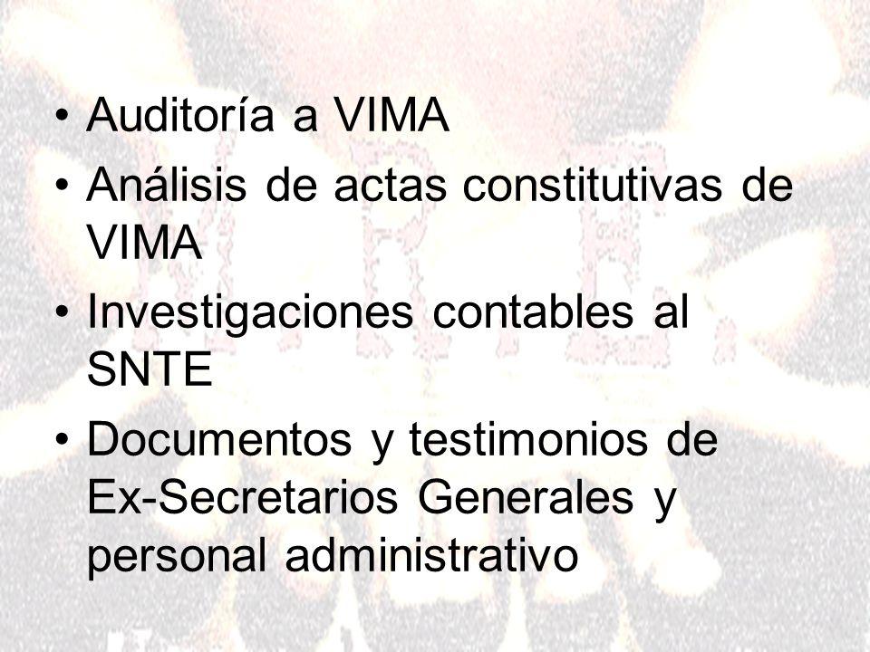 Auditoría a VIMA Análisis de actas constitutivas de VIMA Investigaciones contables al SNTE Documentos y testimonios de Ex-Secretarios Generales y personal administrativo