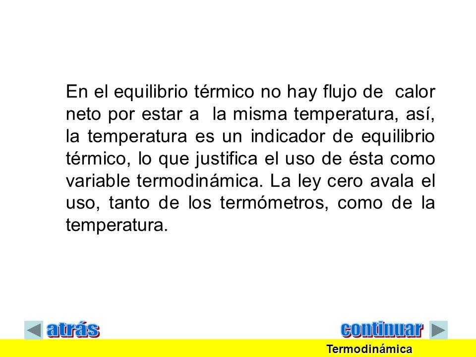 En el equilibrio térmico no hay flujo de calor neto por estar a la misma temperatura, así, la temperatura es un indicador de equilibrio térmico, lo qu