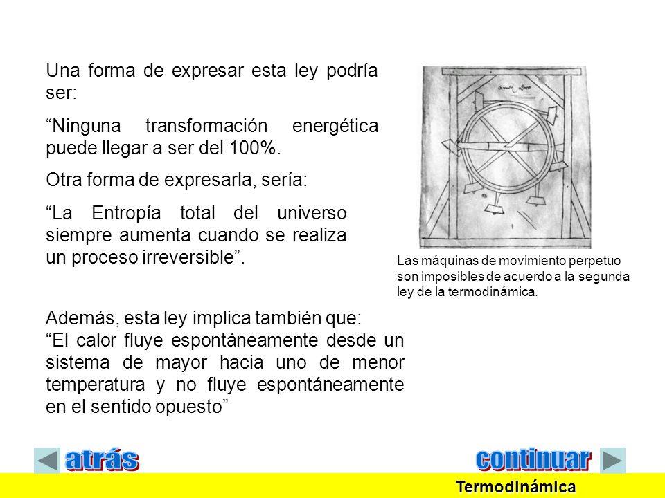 Termodinámica Termodinámica ENTROPÍA Pérdida parcial de la capacidad para efectuar trabajo.