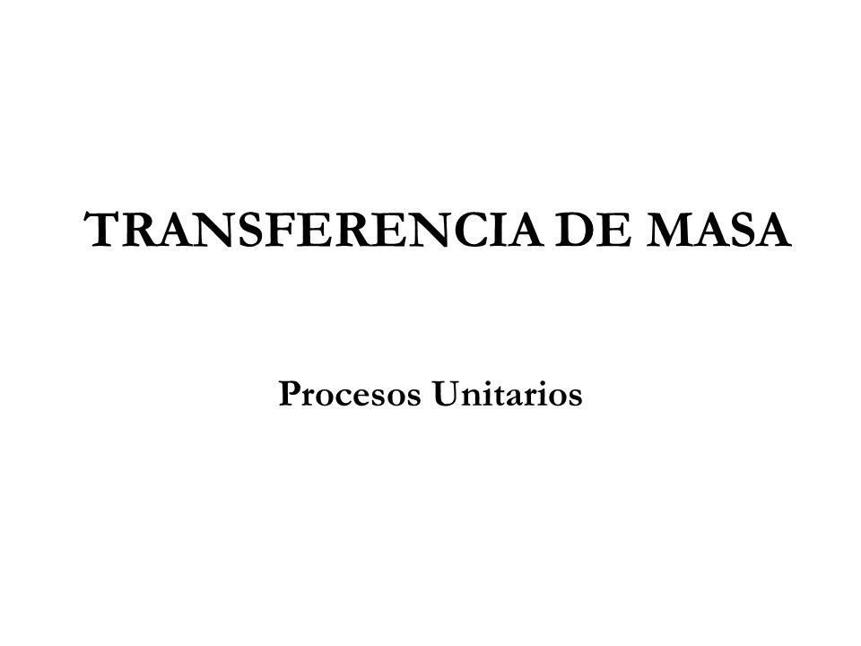 TRANSFERENCIA DE MASA Procesos Unitarios