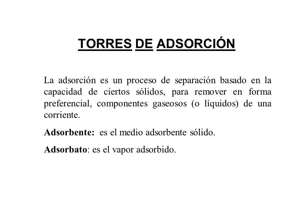 TORRES DE ADSORCIÓN La adsorción es un proceso de separación basado en la capacidad de ciertos sólidos, para remover en forma preferencial, componentes gaseosos (o líquidos) de una corriente.