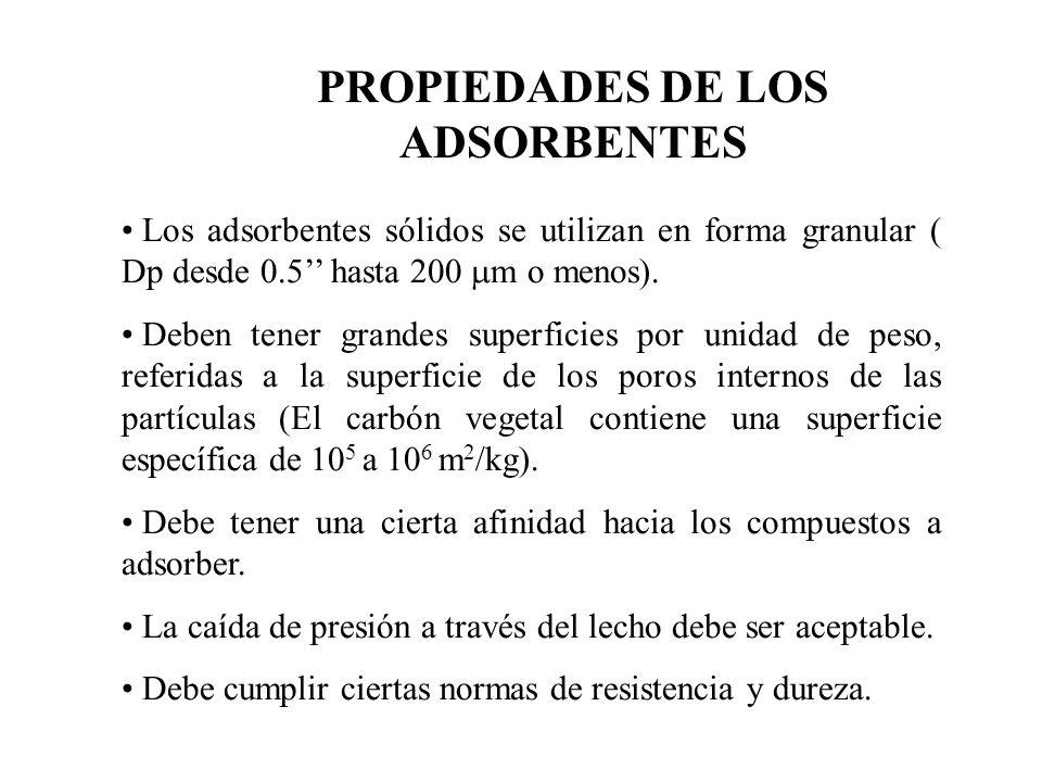 PROPIEDADES DE LOS ADSORBENTES Los adsorbentes sólidos se utilizan en forma granular ( Dp desde 0.5 hasta 200 m o menos).