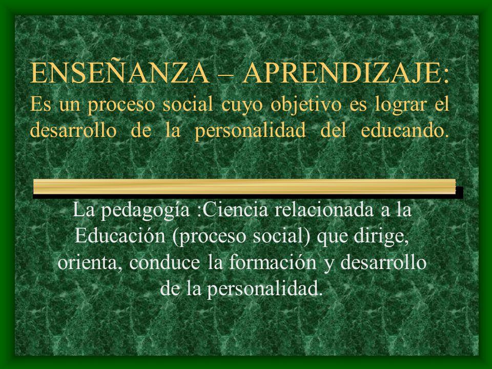 ENSEÑANZA – APRENDIZAJE: Es un proceso social cuyo objetivo es lograr el desarrollo de la personalidad del educando. La pedagogía :Ciencia relacionada